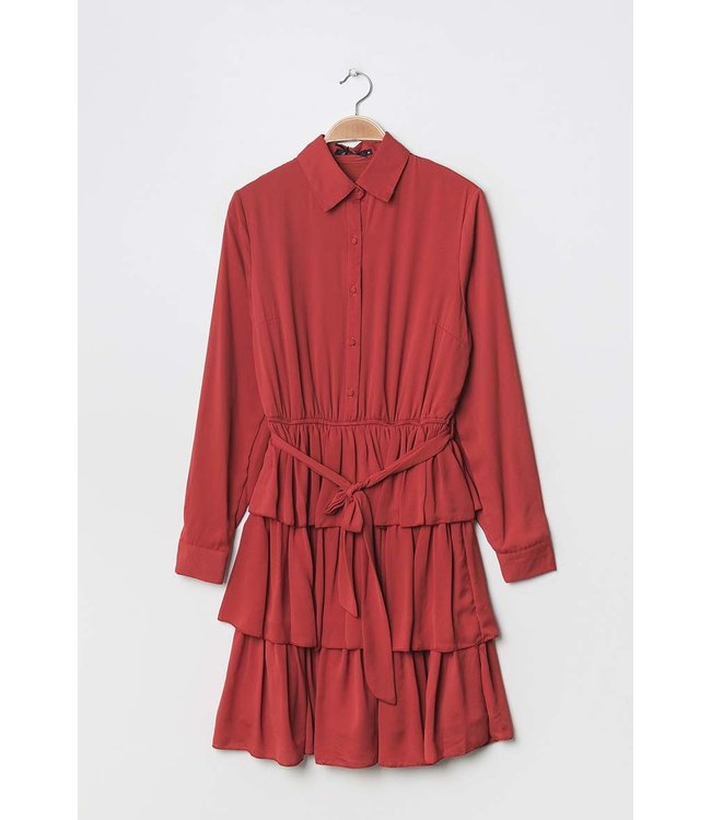 Dress with ruffles - Coral