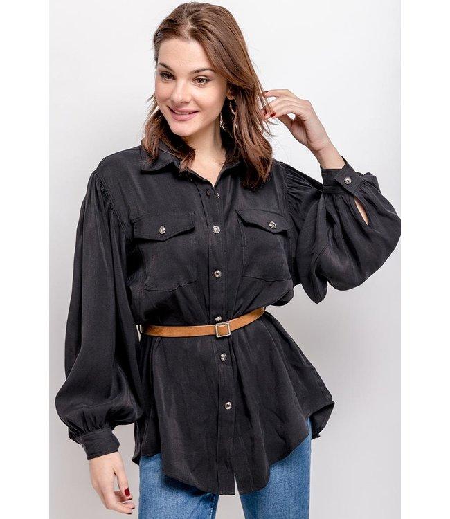 Shirt met pofmouwen - Zwart