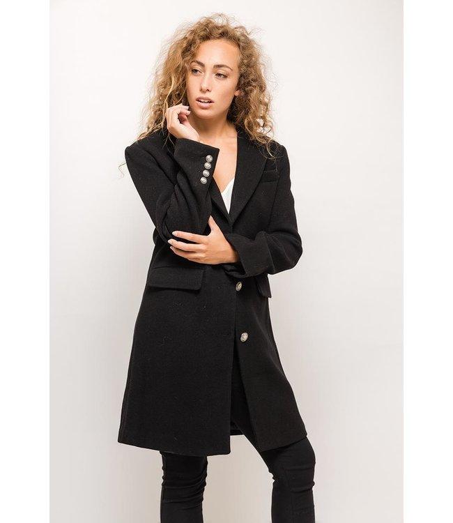 Wollen mantel - Zwart