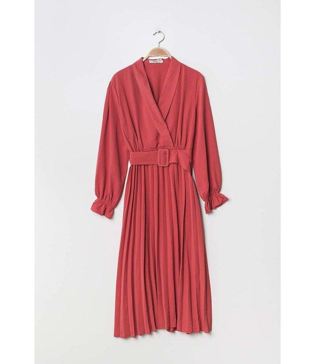 Wrap dress with belt - Raspberry