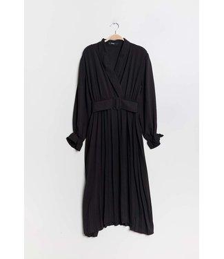 Wrap dress with belt - Black