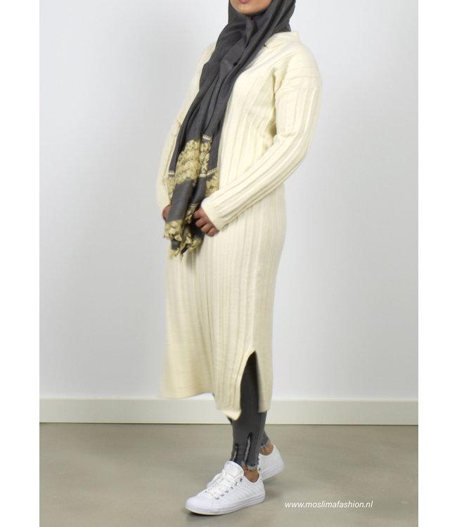 Ribbed midi dress - Ecru