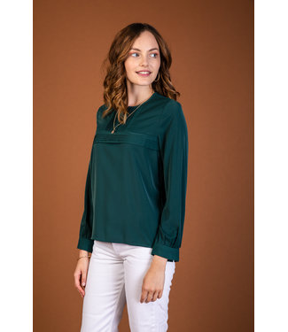 Blouse with pleats - emerald