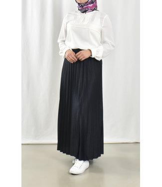 Lange geplooide rok - Donkerblauw