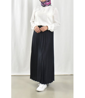 Long pleated skirt - dark blue