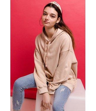 Korte hoodie - Beige