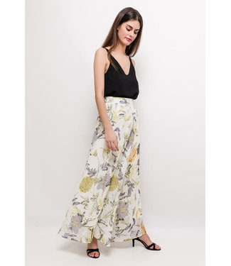 Long skirt with print - yellow
