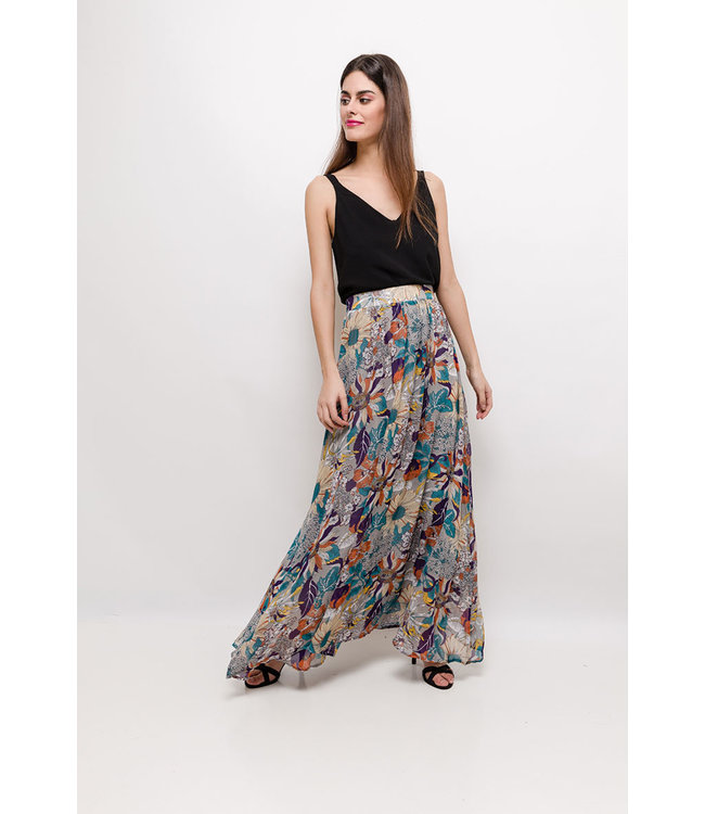 Long skirt with print - Purple
