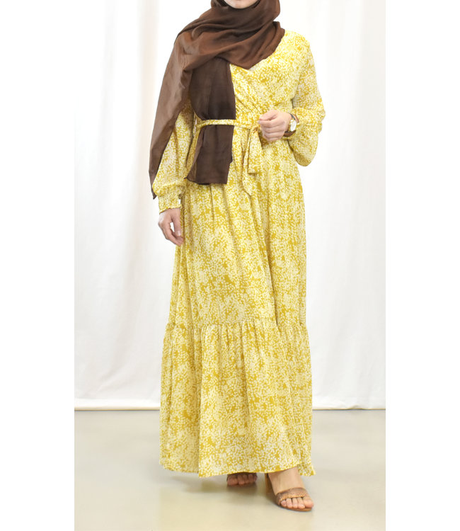 Wrap dress with print - yellow