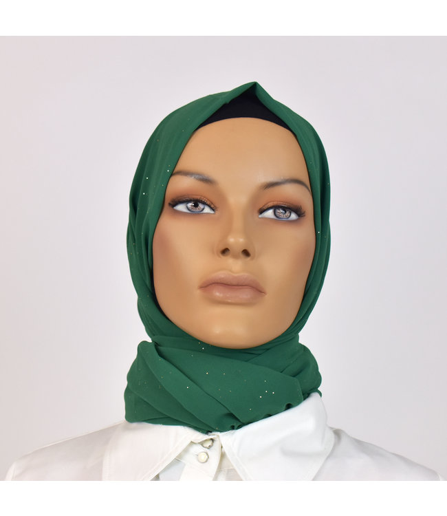 CHIFFON SCARF WITH GLITTERS - Sea green