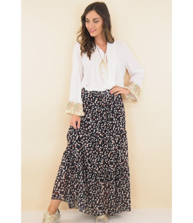Skirt with floral print - Black