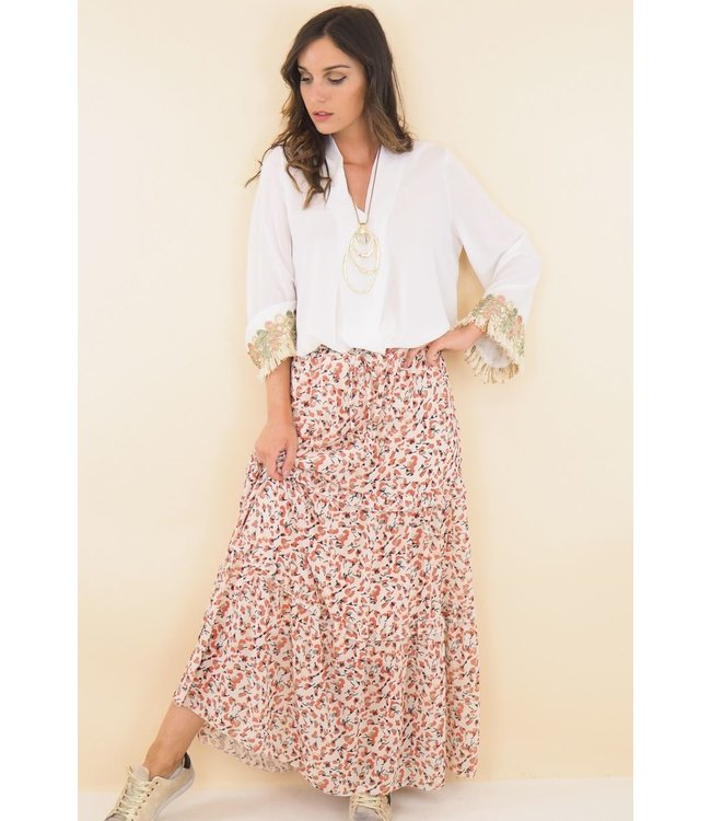 Skirt with floral print - Ecru