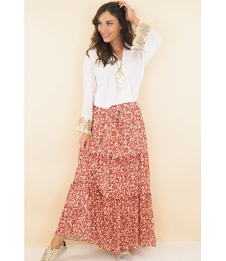 Skirt with floral print - Old pink