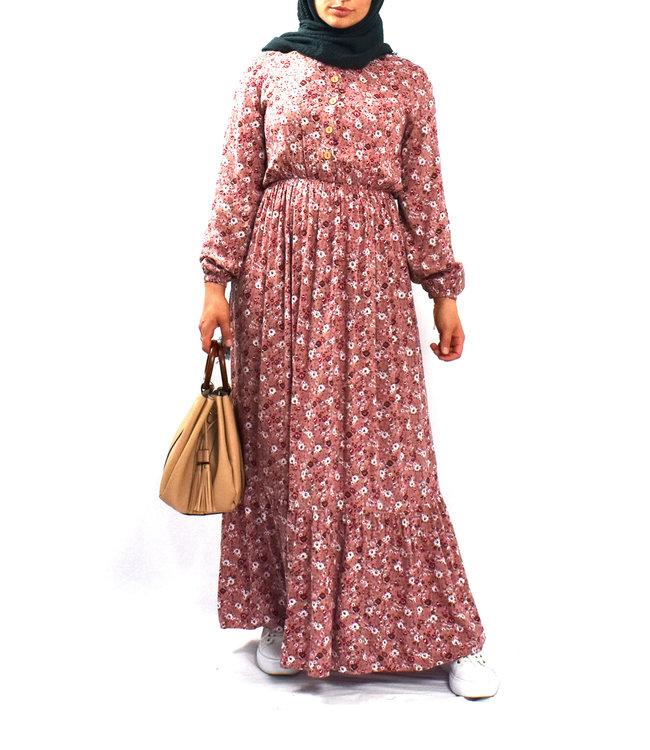 Katoenen jurk - Poederroze