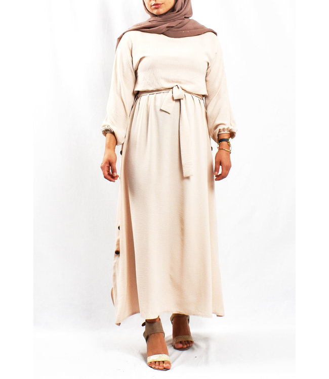 Dress with button detail - Cream