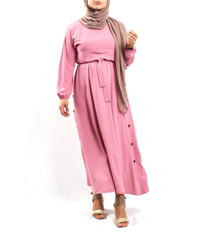 Jurk met knoopdetail - Roze