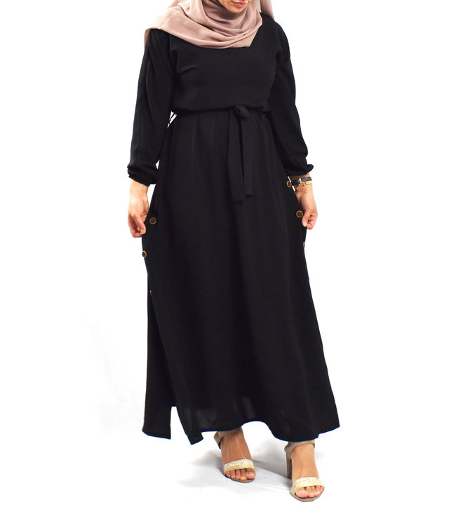 Dress with button detail - Black