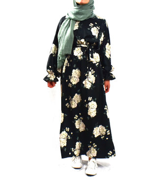 Dress with floral print - Black