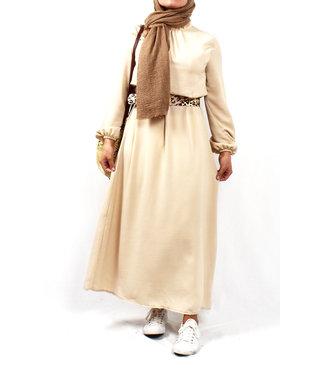 Satijnen jurk - Crème