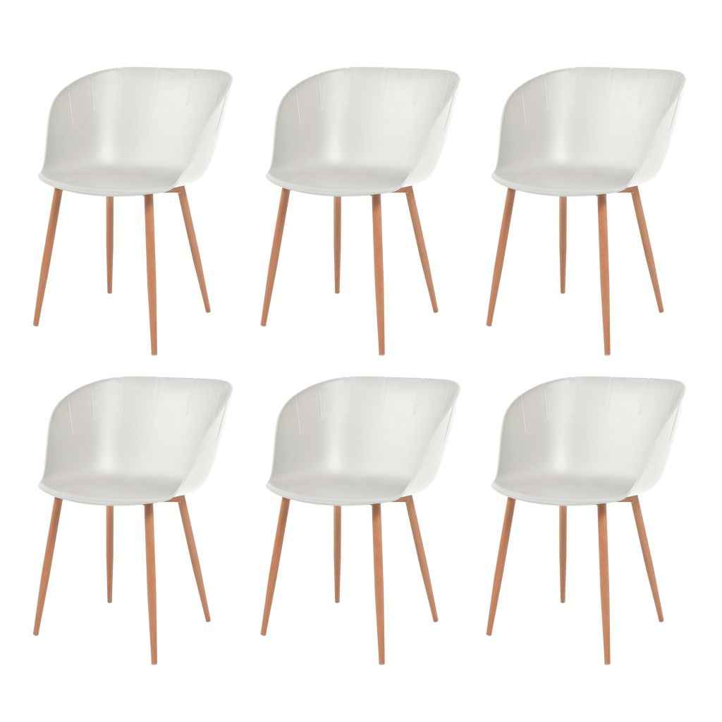 acier salle manger Blanc Chaise 6 Plastique de et à pcs DH2Y9WEI