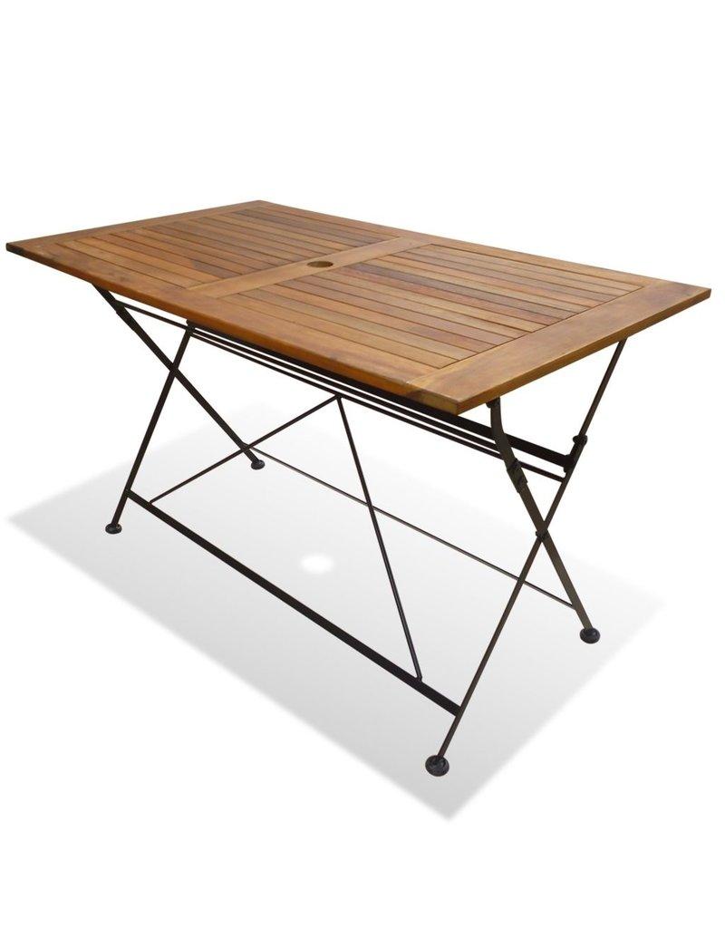 Table Bois Metal Exterieur mobilier à dîner d'extérieur pliable 5 pcs bois d'acacia solide
