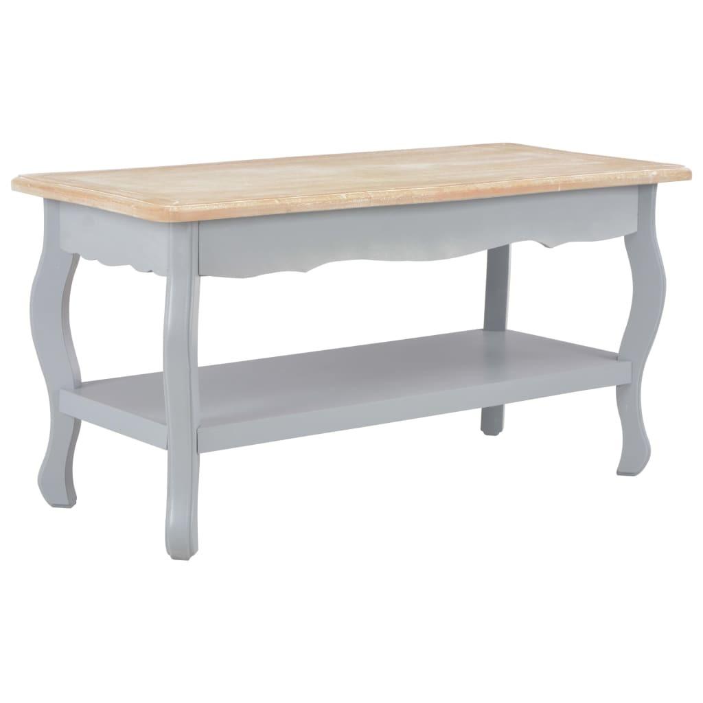 Table Basse Gris Et Marron 87 5x42x44 Cm Bois De Pin Massif