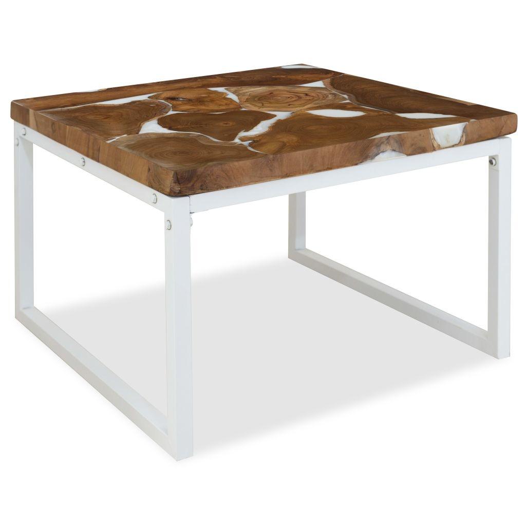 Table basse Teck Résine 60 x 60 x 40 cm