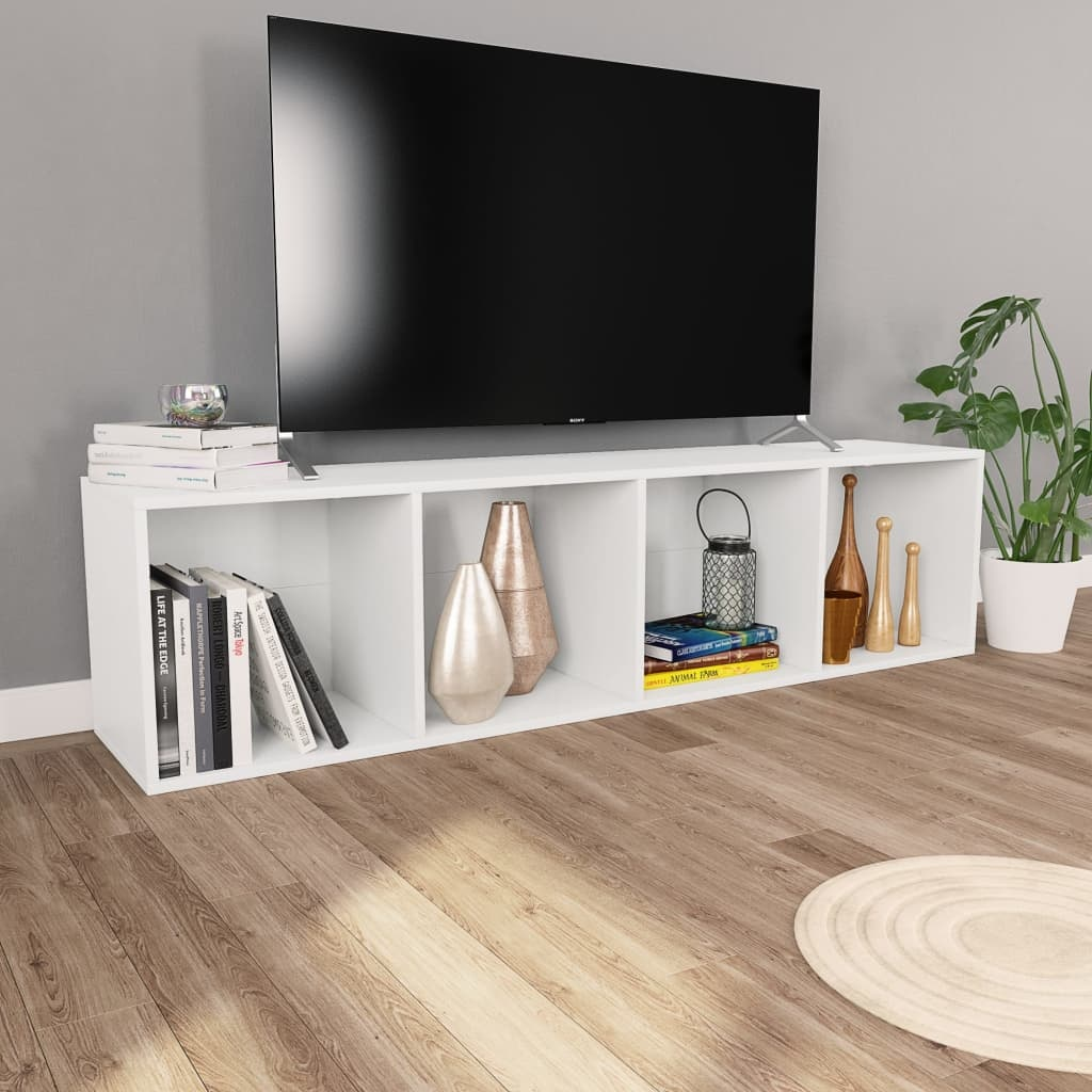 Meuble Tv Avec Bibliothèque bibliothèque/meuble tv blanc 36 x 30 x 143 cm aggloméré