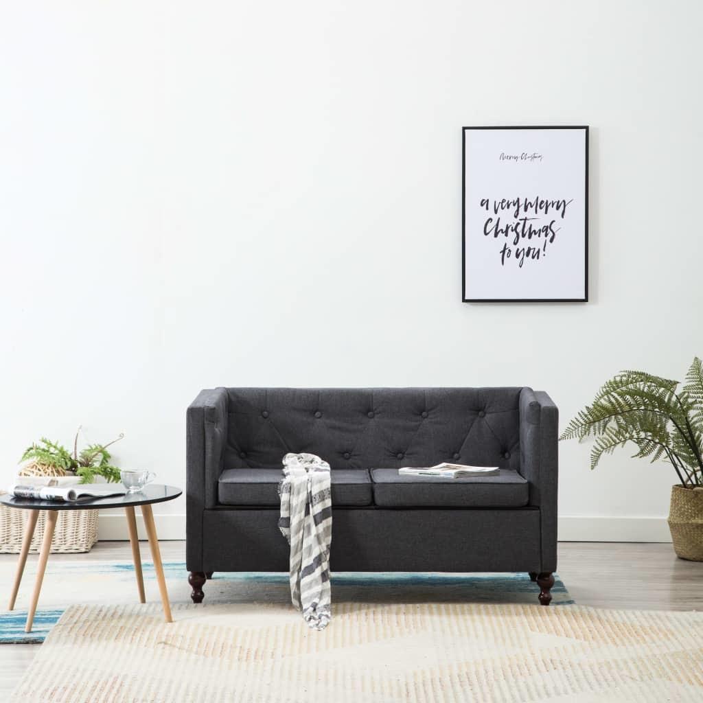 vidaXL Canapé à 2 places Sofa pour salon bureau séjour Tissu Gris foncé