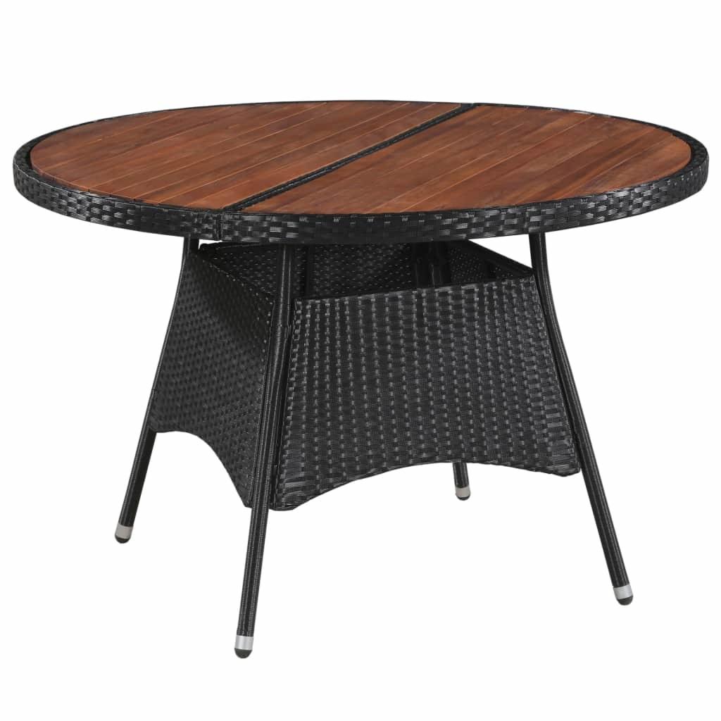 Salle A Manger De Jardin En Resine Tressee table de jardin 115x74cm résine tressée et bois d'acacia solide