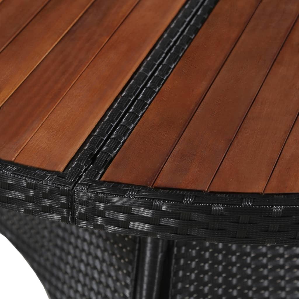 Table de jardin 115x74cm Résine tressée et bois d\'acacia solide