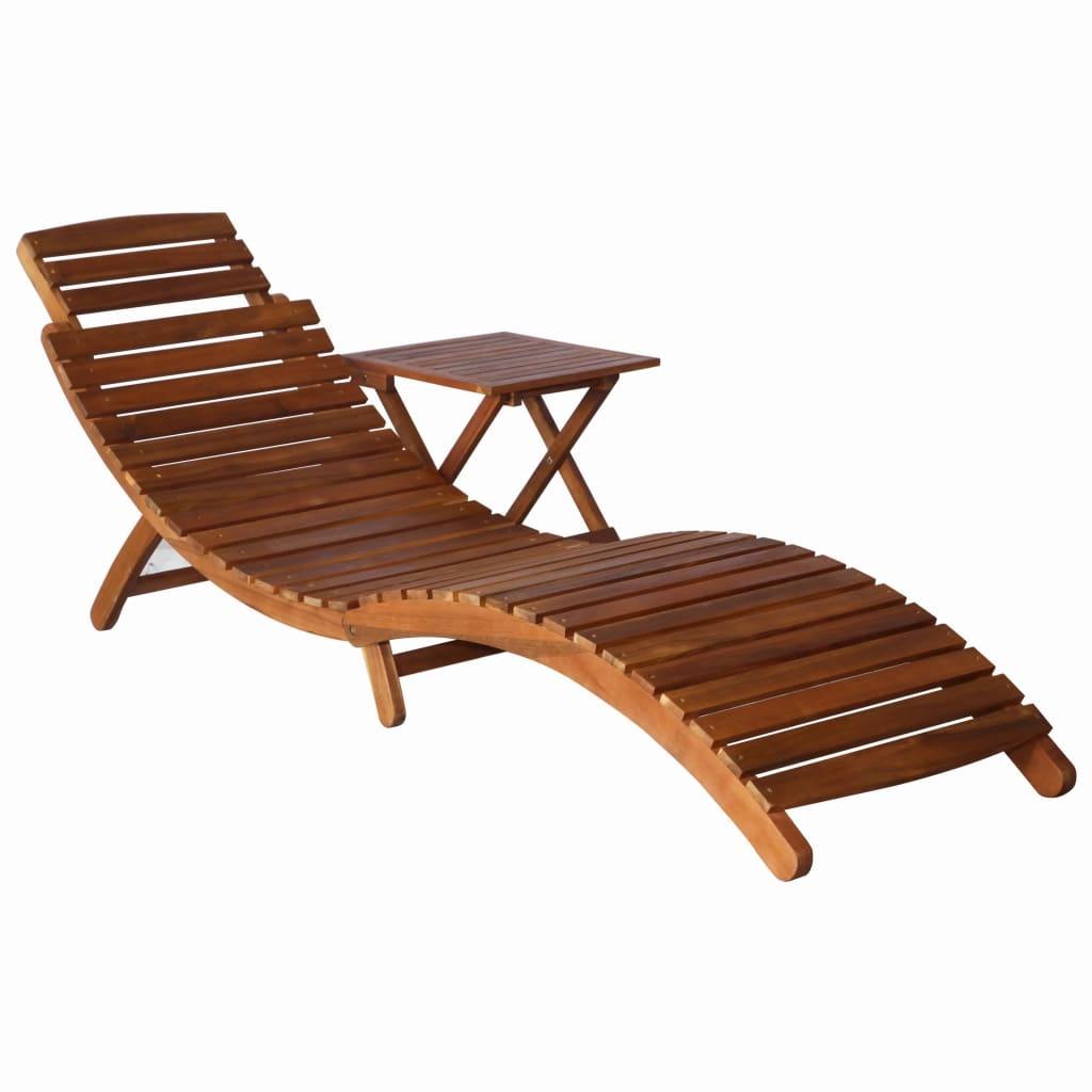 La Chaise Longue Billard chaise longue avec table bois d'acacia massif marron