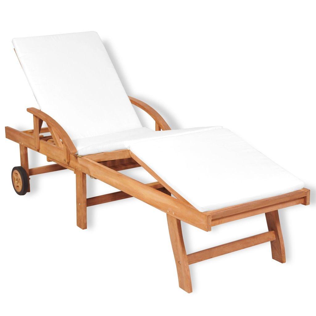 La Chaise Longue Billard chaise longue avec coussin bois de teck solide