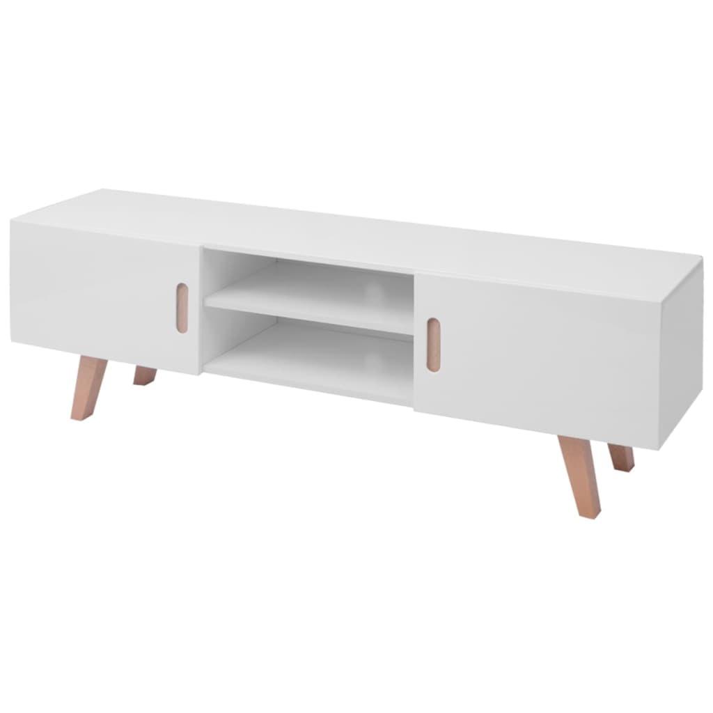 Meuble Tv Grande Taille meuble tv mdf 150x35x48,5 cm blanc brillant
