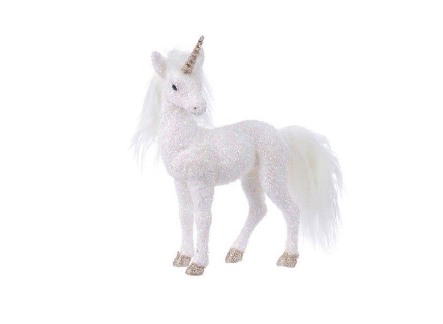 Foam Unicorn W Glitters W Horn - Small - White/Iris - 7X30X22 cm