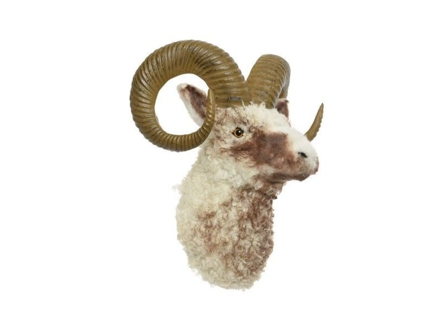 Artifical Fur Ram Head With Antlers - Cream - 28X35X40 cm