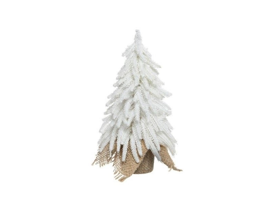 Mini Christmas Tree in Jute Bag with Ice & Glitter, Small - White