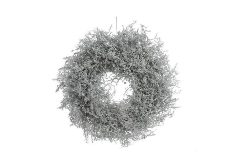 Asparagus Wreath Waxed W Glitter In White - 35 cm - Dia35 cm