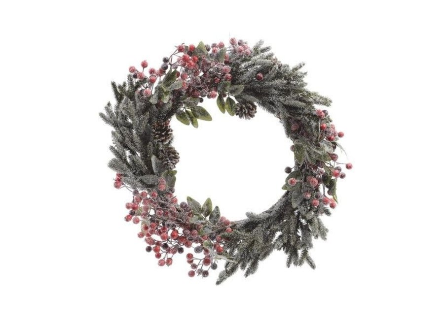 Christmas wreath with berries,  snow, pinecones & glitter 60cm