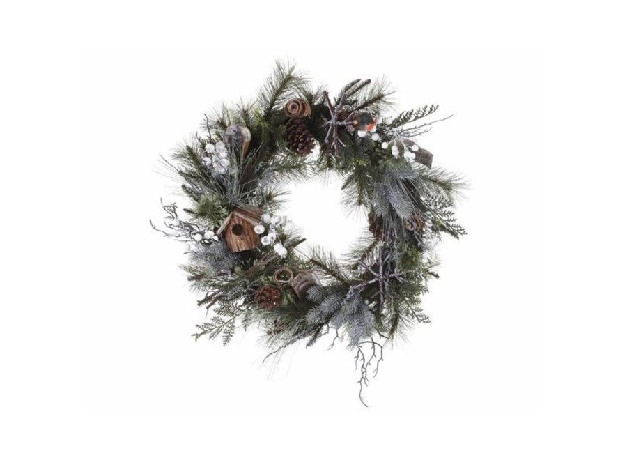 wreath with robin, birdhouse & white berries