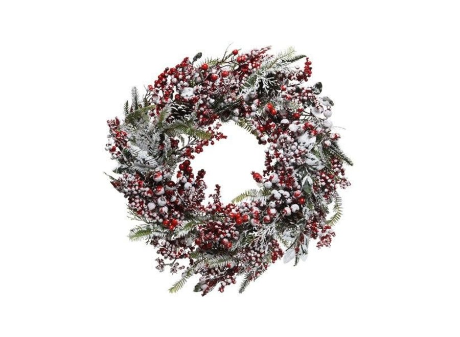 Frosted red berry wreath 60cm