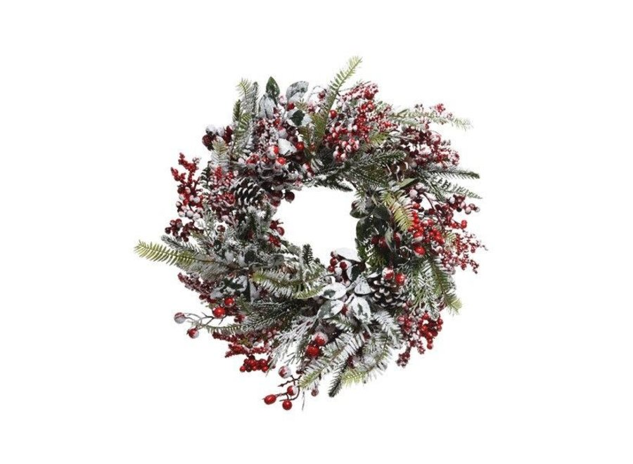 Frosted Wreath With Red Berries - Dia 40 cm - Green/Colour(S) - 13X40X40 cm