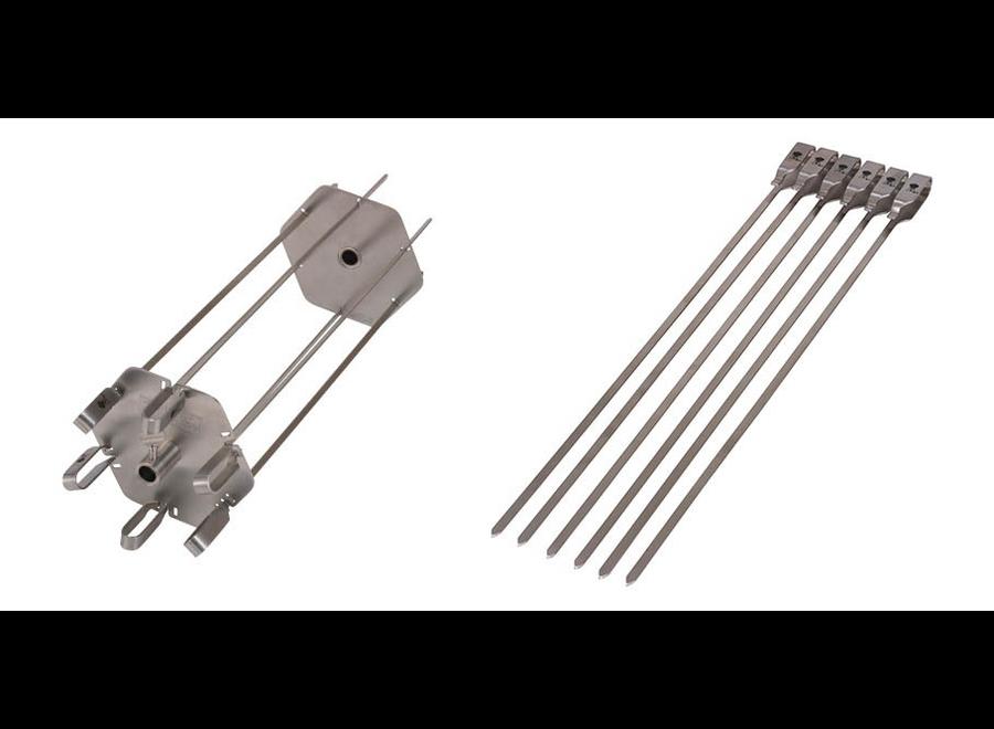 PREMIUM ROTISSERIE SKEWER SET - STAINLESS STEEL, INCLUDES 6 SHORT AND 6 LONG SKEWERS