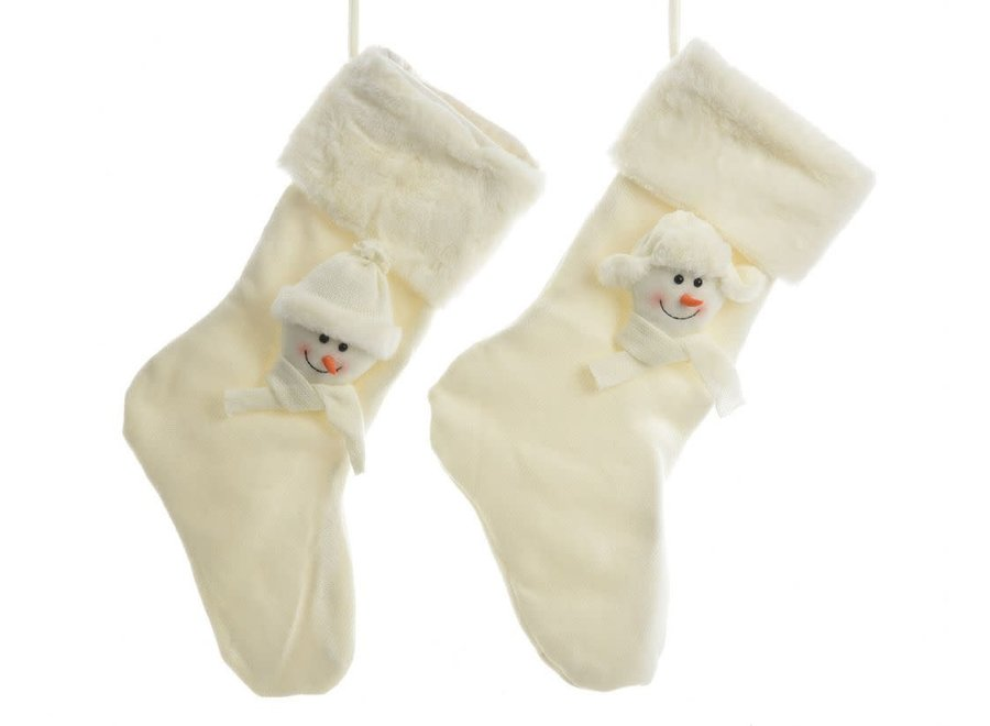 Christmas Stocking With Snowmen In White - 29X50 cm