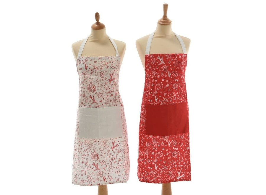 Christmas Apron In Red & White - Assorted - 70X85 cm