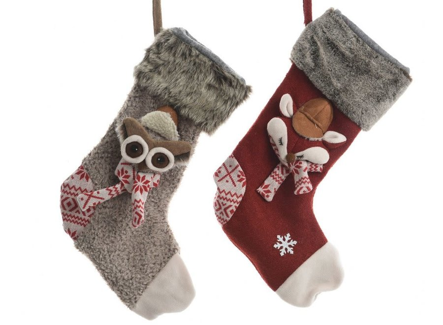 Christmas Stocking With Fox Or Owl - Natural - 50 cm