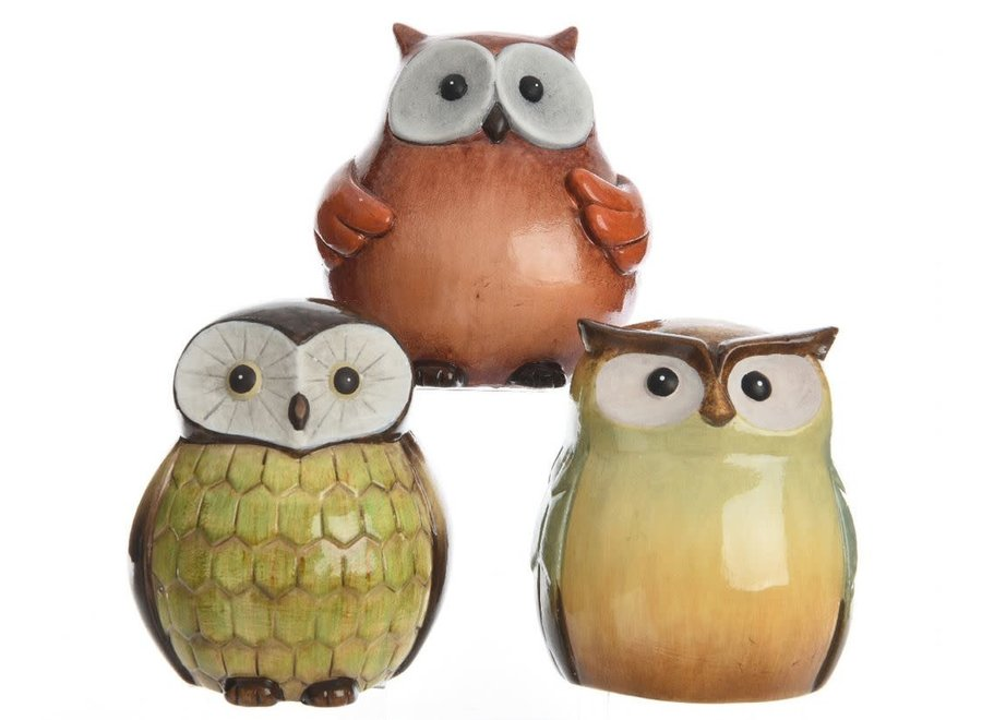 Ceramic Owls In Red, Green Or Cream - Assorted - Assorted