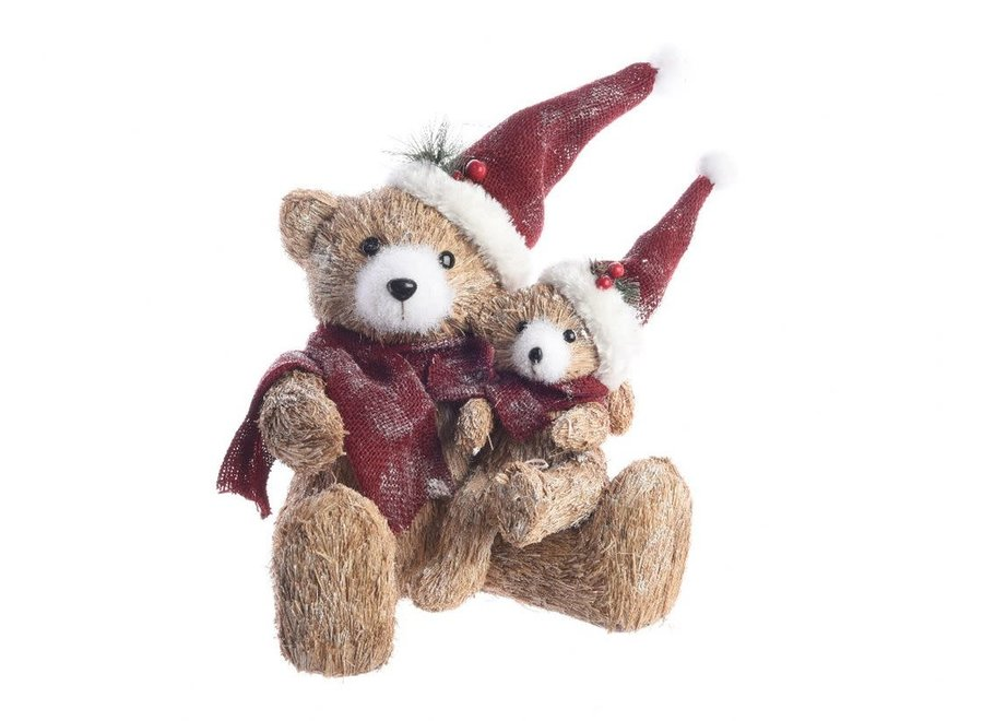 Bear With Baby Bear With Hat & Scarf - Natural - 26X27X37 cm