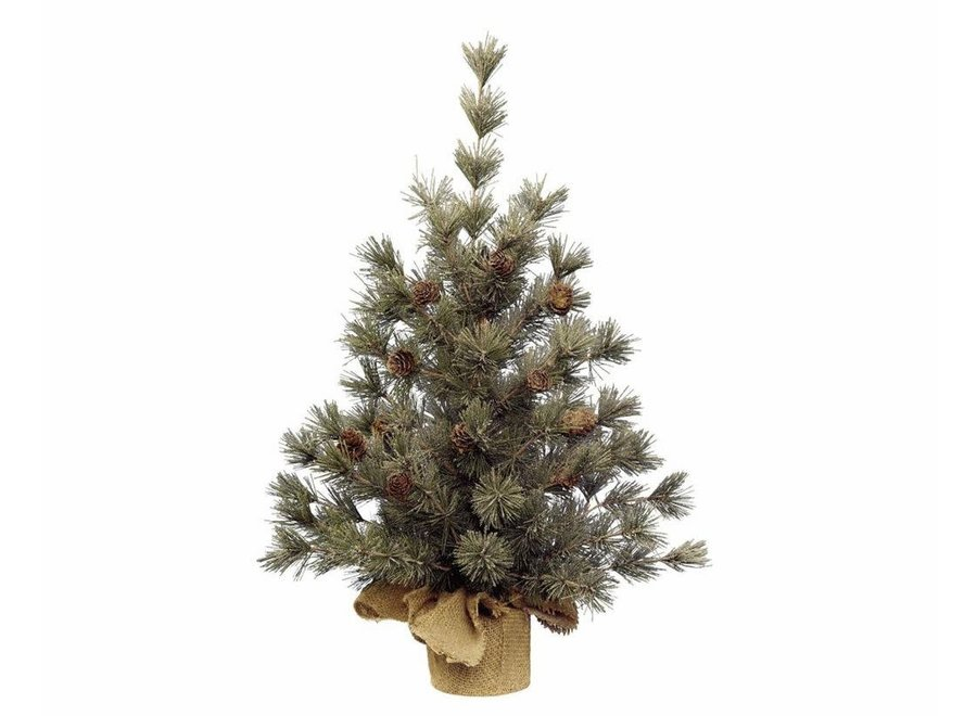 Frosted mini evergreen tree with pinecones 60cm