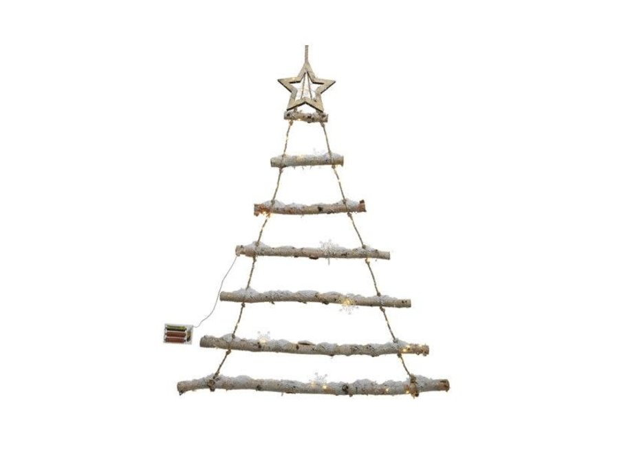 Led Birch Tree With 7 Branches - Snow, Snowflakes & Warm White Lights (Timer) - Natural - 2.5X70X90 cm